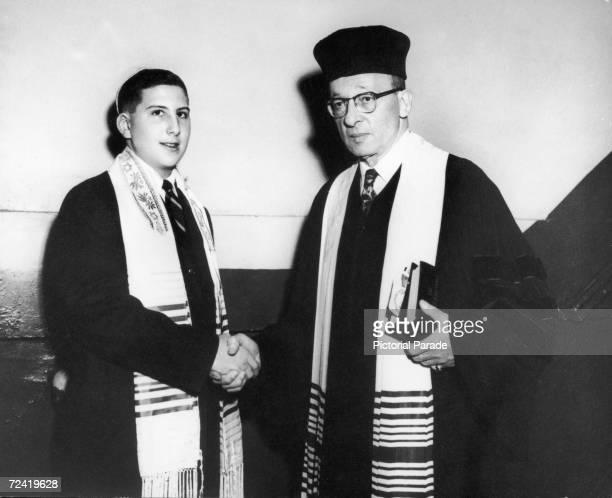 Richard Joel Schaeffer celebrates his Bar Mitzvah or comingofage soon after his 13th birthday circa 1960 Rabbi Alexander Alan Steinbach of Temple...