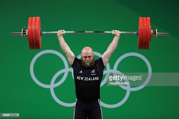 Richard John Edward Patterson of New Zealand competes in the Men's 85kg Group B Weightlifting on Day 7 of the Rio 2016 Olympic Games at Riocentro...