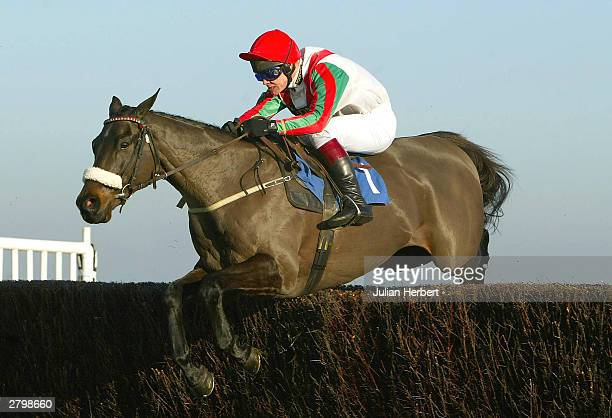 Richard Johnson and Ballycassidy clear an early fence before landing The Systems By Design Novices Steeple Chase Race run at Newbury on December 10...