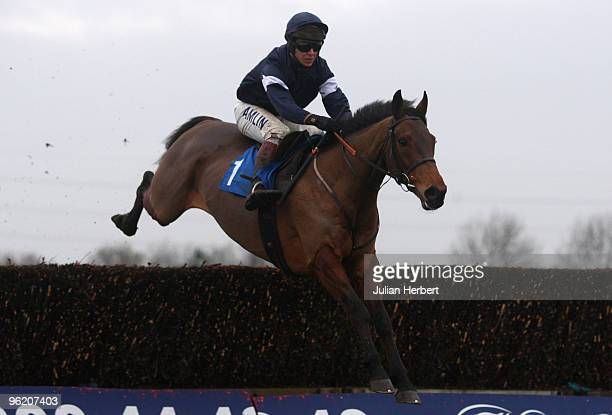Richard Johnson and Mighty Man on their way to victory in The Huntingdon Novices' Novices Steeple Chase Race run at Huntingdon Racecourse on January...