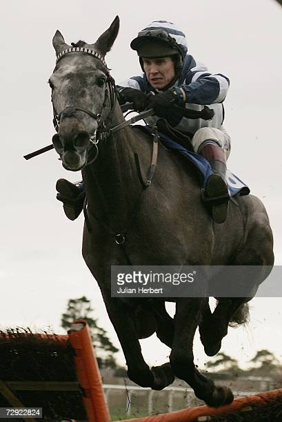 Richard Johnson and Special Envoy go through the last flight before landing The Docker Hughes Memorial Maiden Hurdle Race run at Fontwell Racecourse...