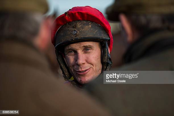 Richard Johnson chats to owners ahead of a race at Taunton Racecourse on January 13 2016 in Somerset England Sandhill Racing Stables set in 500...