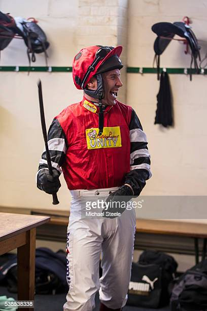 Richard Johnson in happy mood as he leaves the jockeys changing room at Exeter Racecourse for his only race of the day on March 8 2016 in Exeter...