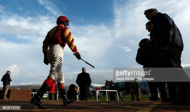 Richard Johnson makes his way out for the Jenny Mould Memorial Handicap Chase during day two of the 2013 The International at Cheltenham Racecourse,...