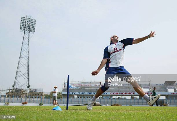 Richard Johnson of England bowls during a practice session at the Chittagong Stadium prior to the 2nd Test against Bangladesh on October 28 2003 in...