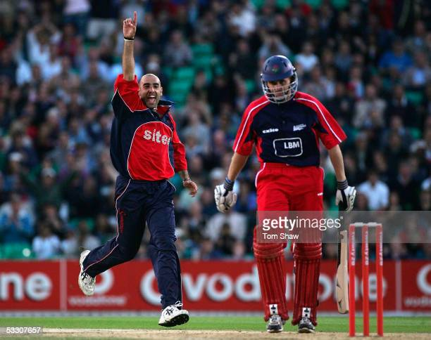Richard Johnson of Somerset celebrates taking the wicket of Dominic Cork of Lancashire during the Twenty20 Final match between Somerset and...