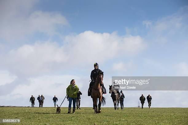 Richard Johnson on Balhazar King walks with Hannah Ball after a pre Cheltenham workout at Pontispool Equestrian Centre on March 2 2016 in Pontispool...