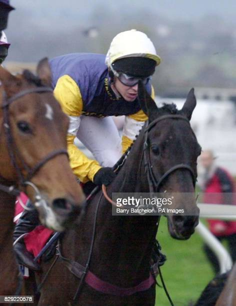 Richard Johnson on Limerick Leader in the Betfair Open Bumper NH Flat Race at Cheltenham This was Johnson's first race ride after a long injury layoff