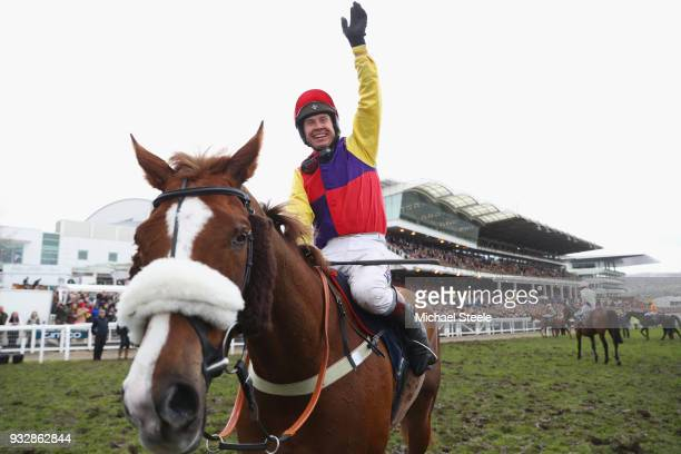 Richard Johnson on Native River celebrates after winning the Timico Cheltenham Gold Cup Chase at the Cheltenham Festival at Cheltenham Racecourse on...