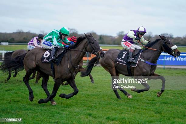 Richard Johnson riding Adrimel clear the last to win The Ballymore Leamington Novices' Hurdle at Warwick Racecourse on January 16, 2021 in Warwick,...