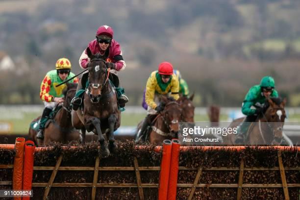Richard Johnson riding Beer Goggles for trainer Kayley Woollacott at Cheltenham racecourse on January 27 2018 in Cheltenham England