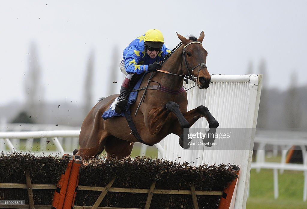 Richard Johnson riding Berkeley Barron clear the last to win The Physicool 'Nationsl Hunt' Novices' Hurdle Race at Newbury racecourse on March 01, 2013 in Newbury, England.