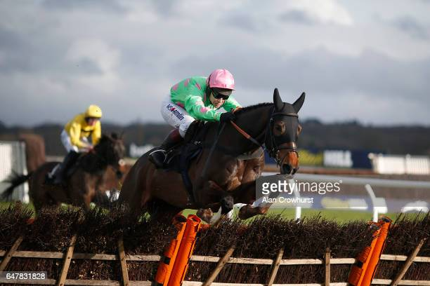Richard Johnson riding Bol D'Air clear the last to win The Laurent's Half Century Novices' Handicap Hurdle Race at Newbury Racecourse on March 4 2017...