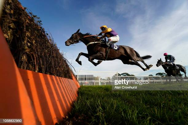 Richard Johnson riding Darlac win The Andy Thesaurus Musselwhite Maiden Hurdle Race at Fontwell Park Racecourse on October 24 2018 in Fontwell England