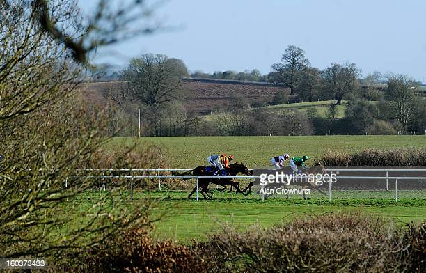 Richard Johnson riding Filbert win The Dinham Novices' Steeple Chase at Ludlow racecourse on January 30 2013 in Ludlow England