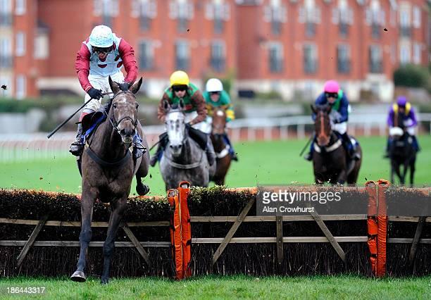 Richard Johnson riding Irish Cavalier clear the last to win The EBF Stallions 'National Hunt' Novices' Hurdle Races at Stratford-Upon-Avon racecourse...
