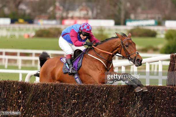 Richard Johnson riding La Bague Au Roi clear the last to win The Flogas Novice Chase at Leopardstown Racecourse on February 03 2019 in Dublin Ireland