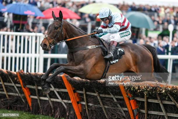 Richard Johnson riding Lalor clear the last to win The Betway Top Novices' Hurdle Race at Aintree racecourse on April 13 2018 in Liverpool England