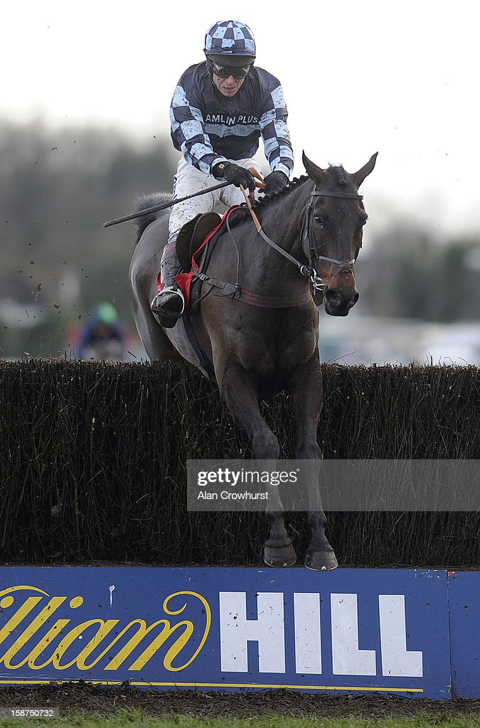 Richard Johnson riding Menorah clear the last to win The William Hill Levy Board Peterborough Steeple Chase at Kempton racecourse on December 27, 2012 in Sunbury, England.