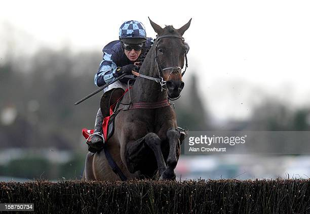 Richard Johnson riding Menorah clear the last to win The William Hill Levy Board Peterborough Steeple Chase at Kempton racecourse on December 27 2012...