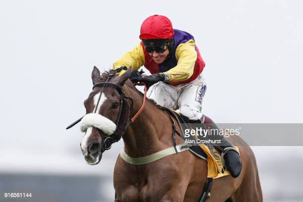Richard Johnson riding Native River clear the last to win The Betfair Denman Steeple Chase at Newbury racecourse on February 10 2018 in Newbury...