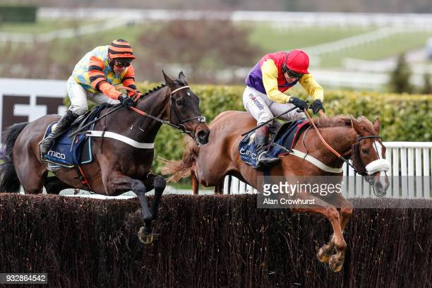 Richard Johnson riding Native River clear the last to win The Timico Cheltenham Gold Cup Steeple Chase from Might Bite at Cheltenham racecourse on...