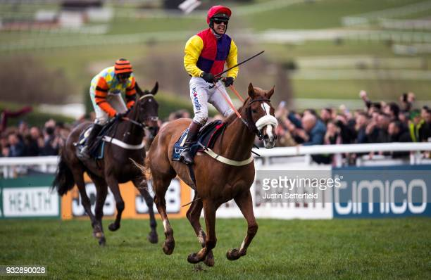 Richard Johnson riding Native River to victory in the Timico Cheltenham Gold Cup Chase at the Cheltenham Festival at Cheltenham Racecourse on March...