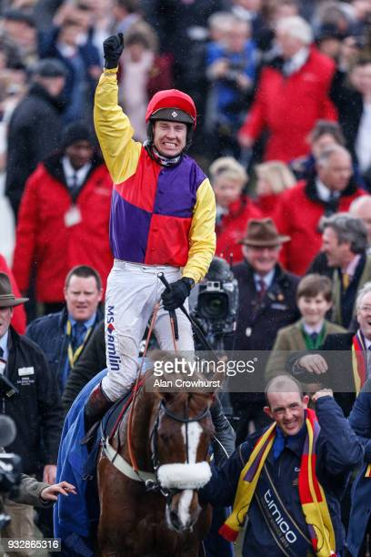 Richard Johnson riding Native River win The Timico Cheltenham Gold Cup Steeple Chase at Cheltenham racecourse on Gold Cup Day on March 16 2018 in...