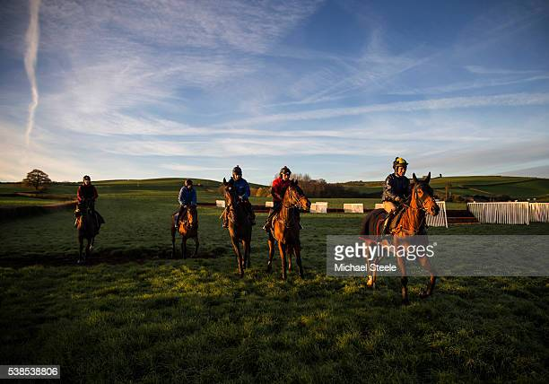 Richard Johnson riding Risk A Fine on the lower schooling ground at Sandhill Racing Stables on November 23 2015 in Minehead England Sandhill Racing...