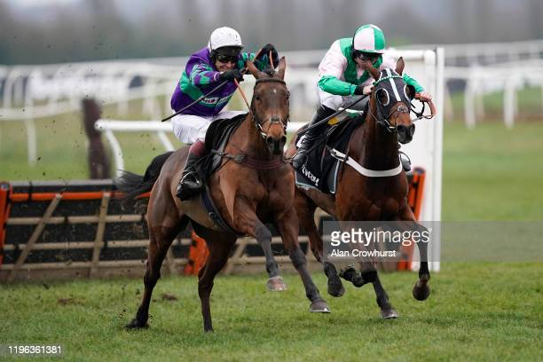 Richard Johnson riding Thyme Hill clear the last to win The Betway Challow Novices' Hurdle at Newbury Racecourse on December 28, 2019 in Newbury,...