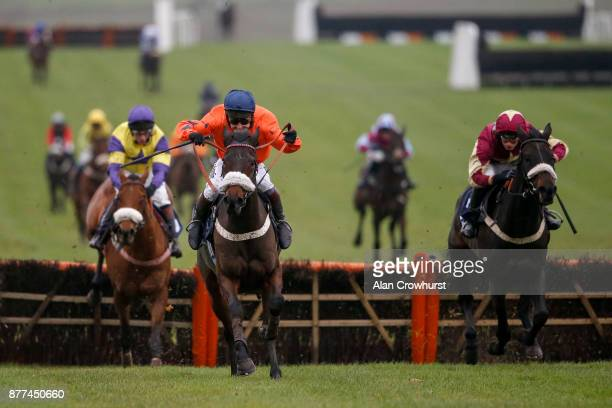 Richard Johnson riding Western Ryder clear the last to win The Angela Nettleford Memorial Novicesâ Hurdle Race at Chepstow racecourse on November 22,...