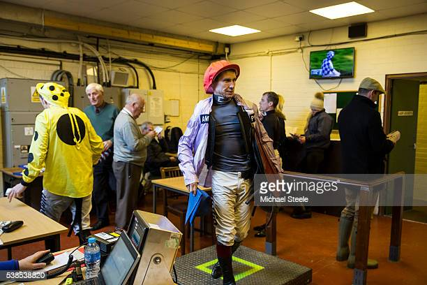 Richard Johnson weighs in at Taunton Racecourse on January 13 2016 in Taunton England Sandhill Racing Stables set in 500 hundred acres of farmland in...