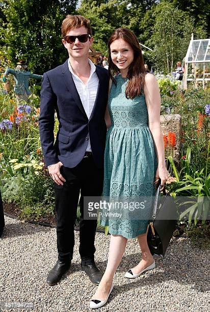 Richard Jones and Sophie Ellis Bextor attend the '50 Years RHS Britain in Bloom' garden during the Hampton Court Palace Flower Show at Hampton Court...