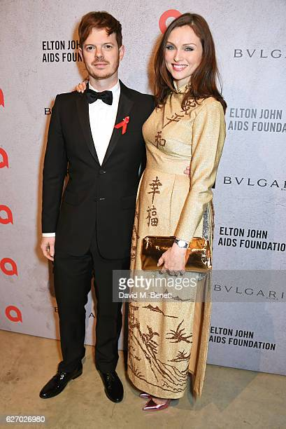 Richard Jones and Sophie EllisBextor attend 'The Radical Eye' dinner and private view for the Elton John Aids Foundation in association with Bulgari...