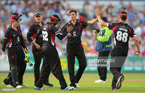 Richard Jones of Leicestershire Foxes celebrates taking his third wicket during the Lancashire Lightning v Leicestershire Natwest T20 Blast at Old...