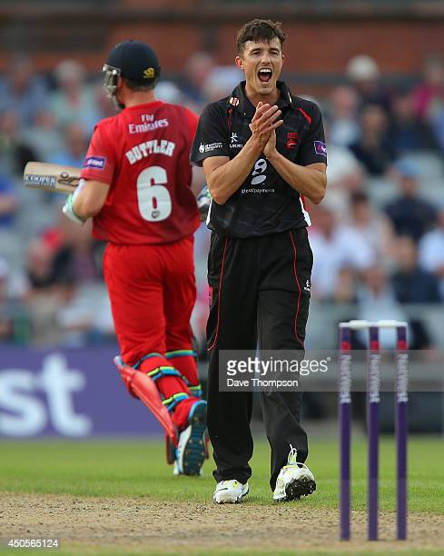 Richard Jones of Leicestershire Foxes celebrates taking the wicket of Jos Buttler of Lancashire Lightning during the Lancashire Lightning v...