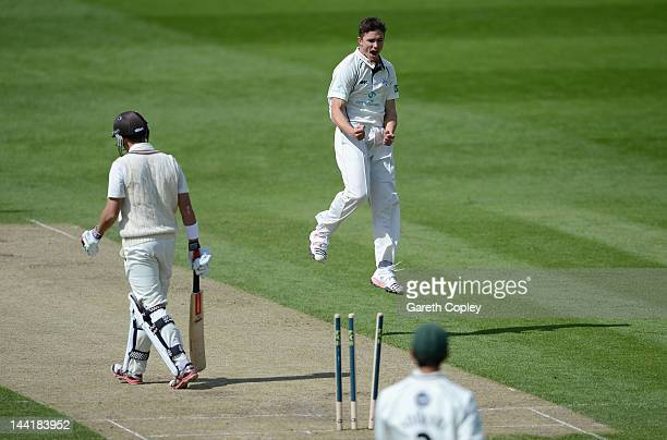 Richard Jones of Worcestershire celebrates dismissing Jacques Rudolph of Surrey during day three of the LV County Championship Division One match...