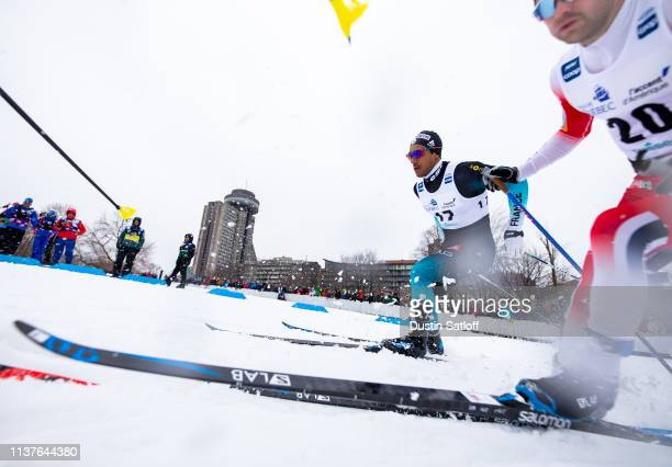 Richard Jouve of France competes in the sprint quarterfinal heat during the FIS Cross Country Ski World Cup Final on March 22 2019 in Quebec City...