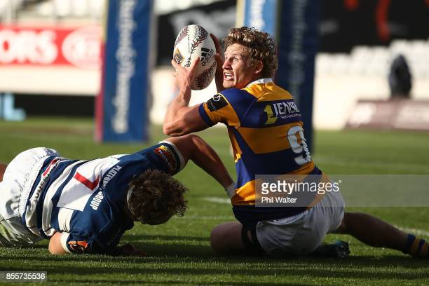 Richard Judd of Bay of Plenty is tackled during the round seven Mitre 10 Cup match between Auckland and Bay of Plenty on September 30 2017 in...