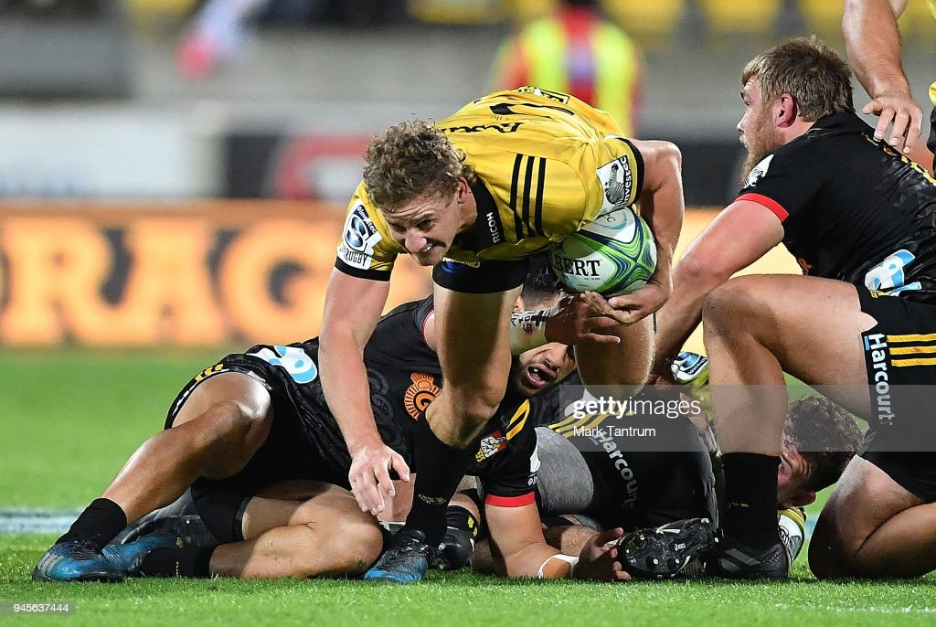 Richard Judd of the Hurricanes during the round nine Super Rugby match between the Hurricanes and the Chiefs at Westpac Stadium on April 13, 2018 in Wellington, New Zealand.