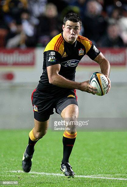 Richard Kahui of the Chiefs runs the ball during the round 13 Super 14 match between the Chiefs and the Hurricanes at Waikato Stadium on May 9 2009...