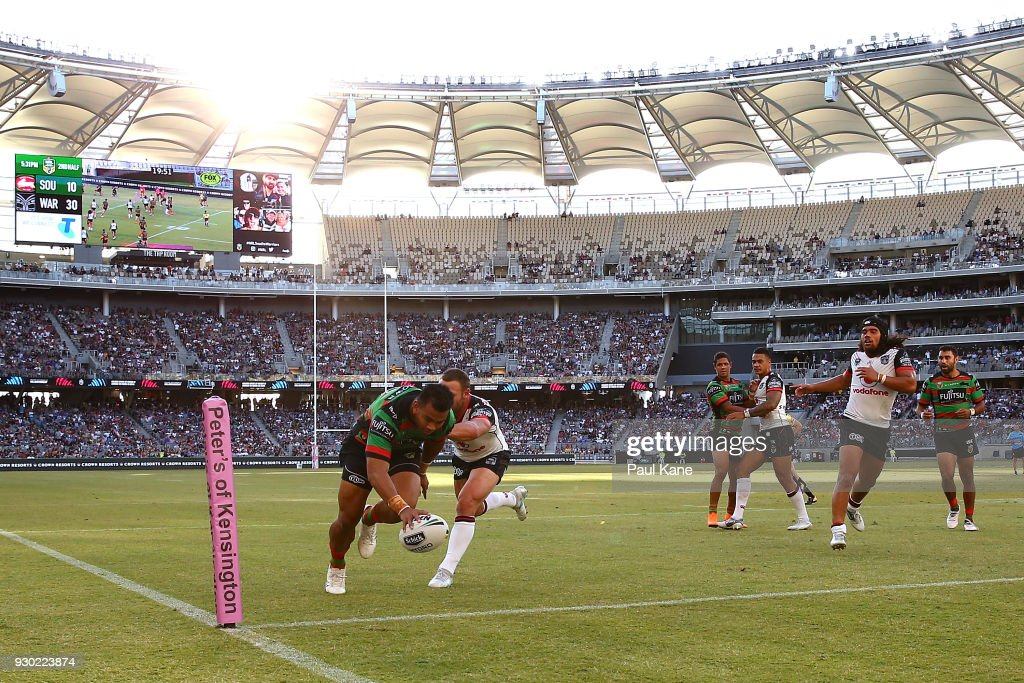 Richard Kennar of the Rabbitohs runs in for a try during the round one NRL match between the South Sydney Rabbitohs and the New Zealand Warriors at Optus Stadium on March 10, 2018 in Perth, Australia.