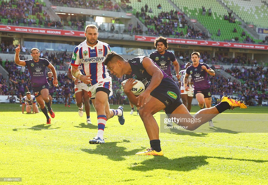Richard Kennar of the Storm scores the match winning try during the round five NRL match between the Melbourne Storm and the Newcastle Knights at AAMI Park on April 2, 2016 in Melbourne, Australia.