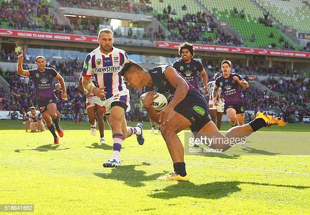 Richard Kennar of the Storm scores the match winning try during the round five NRL match between the Melbourne Storm and the Newcastle Knights at...