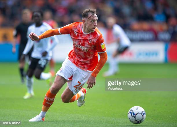 Richard Keogh of Blackpool during the Sky Bet Championship match between Blackpool and Fulham at Bloomfield Road on September 11, 2021 in Blackpool,...