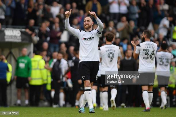 Richard Keogh of Derby celebrates after the Sky Bet Championship match between Derby County and Nottingham Forest at iPro Stadium on October 15 2017...
