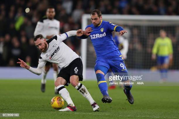 Richard Keogh of Derby County and PierreMichel Lasogga of Leeds United during the Sky Bet Championship match between Derby County and Leeds United at...