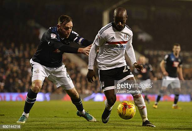 Richard Keogh of Derby County and Sone Aluko of Fulham in action during the Sky Bet Championship match between Fulham and Derby County at Craven...