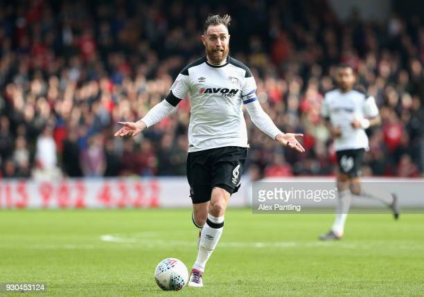 Richard Keogh of Derby County asks for help from his teammates during the Sky Bet Championship match between Nottingham Forest and Derby County at...