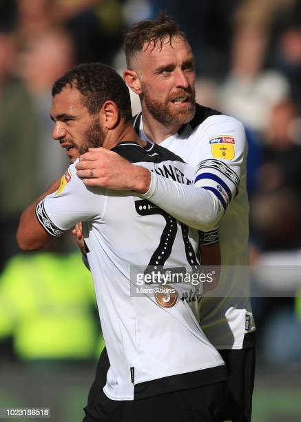 Richard Keogh of Derby County celebrates scoring their 2nd goal with Mason Bennett during the Sky Bet Championship match between Derby County and...
